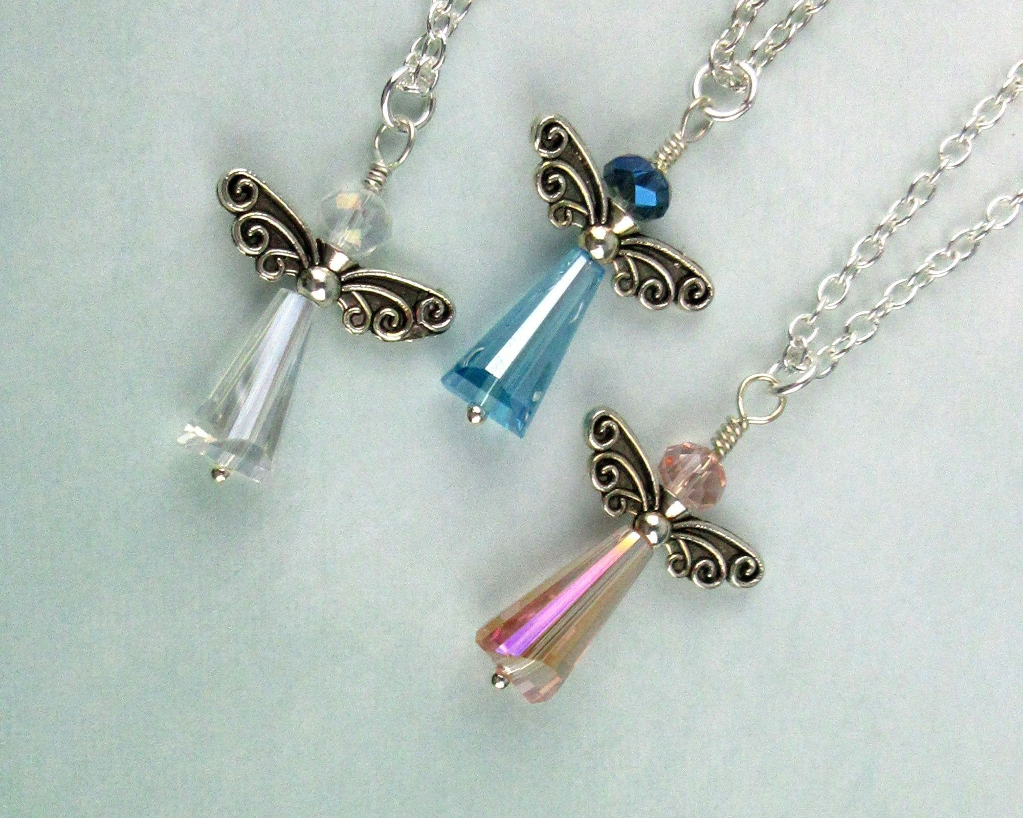 Guardian Angel pretty in pink beaded pendant ribbon Necklace