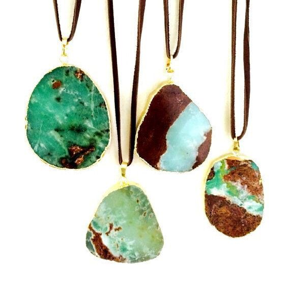 WT-N551 Wholesale Natural Australia chrysoprase necklace, fashion hot suede cord…