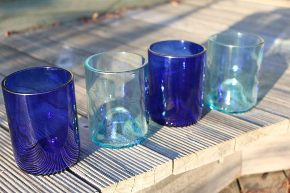 Set of 4 recycled wine bottle glasses. by BottleOH on Etsy