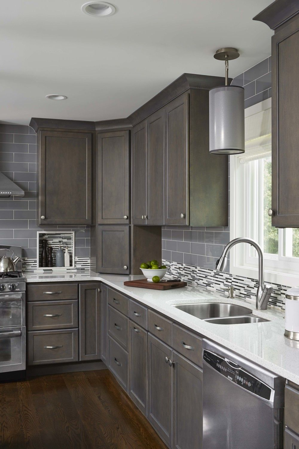 Contemporary Monochromatic Kitchen Remodel In Woodbury Mn Grey Kitchen Cabinets Home Kitchens Kitchen Remodeling Projects