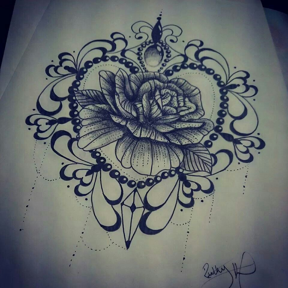 Blackwork Rose Tattoo Design. Find Me On Facebook Ruth
