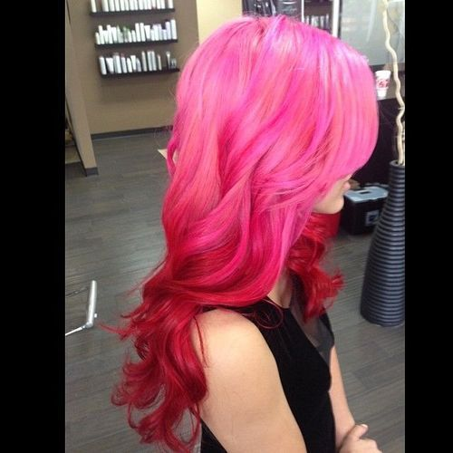 Ombre Pink And Red Hair Hair Hair Pink Hair Hair Styles