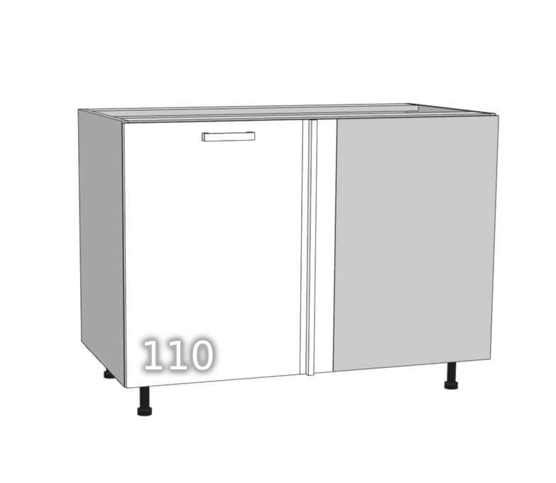 GLOSS Single-door standing corner cabinet straight right 110 …