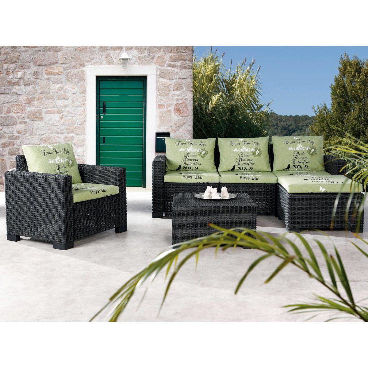 Gartenmöbel Lounge-Gruppe Kenia 4-tlg. Graphit/Grün Jetzt ...