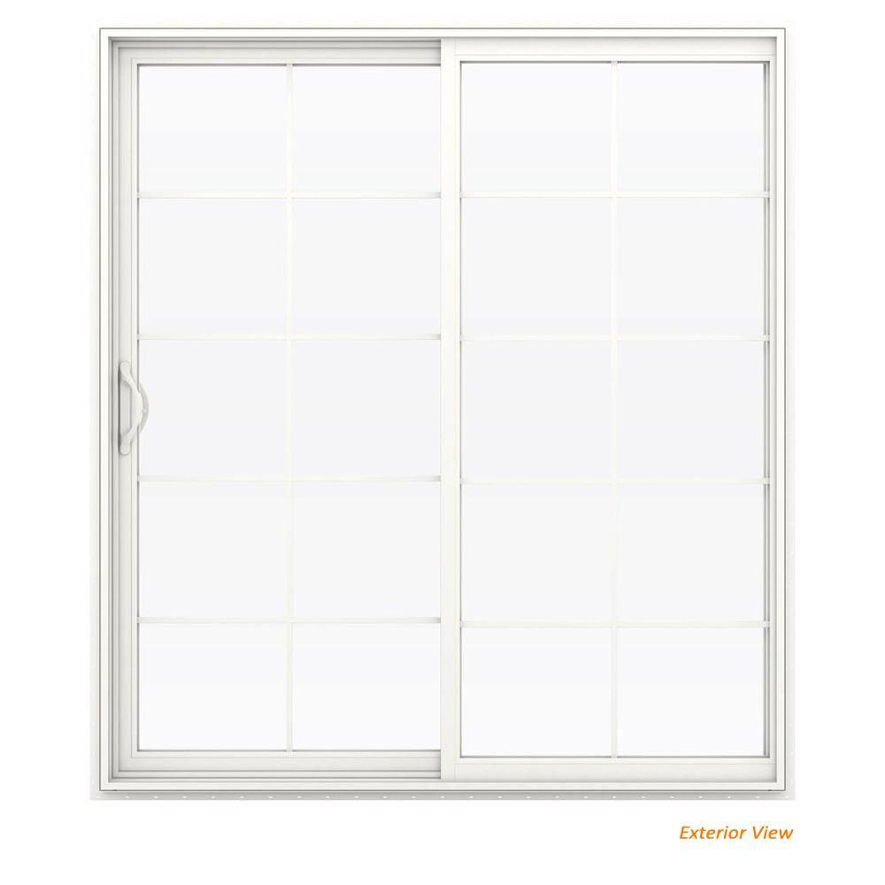 Jeld Wen 72 In X 80 In V 2500 White Vinyl Left Hand 10 Lite Sliding Patio Door W White Interior Thdjw181500225 Sliding Patio Doors Patio Doors Exterior Patio Doors