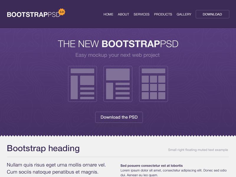 Bootstrap 3 0 Psd Web Development Design Web Design Web Design Projects