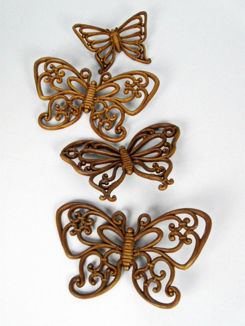 S vintage syroco style filigree butterfly wall decor set of