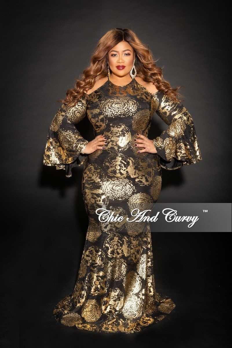 2b61993b805 Plus Size Cold Shoulder Bell Sleeves Gown in Gold and Black – Chic And Curvy
