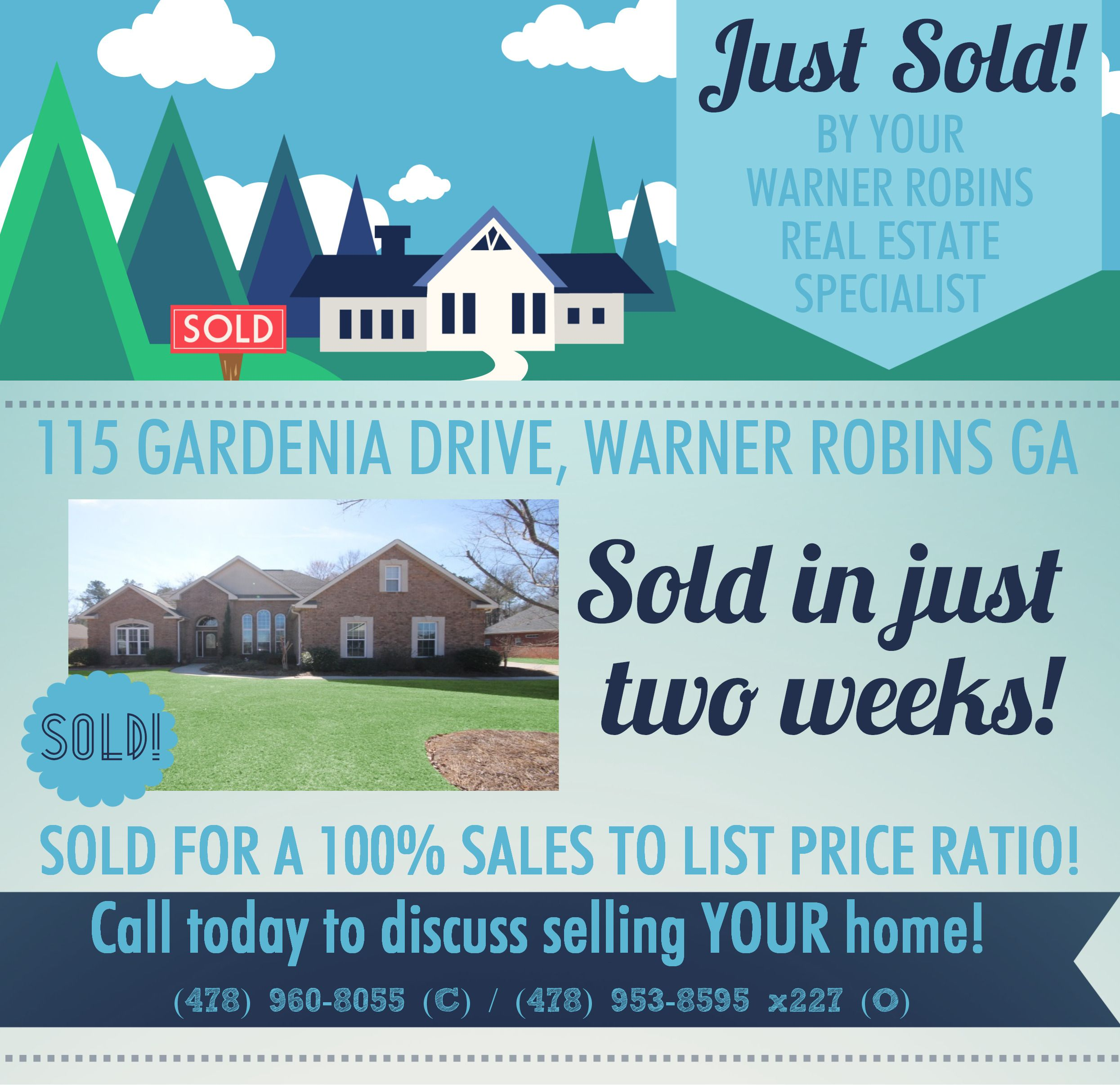Just SOLD this 4 Bdrm/3 Bath home in Weatherby Plantation Subdivision at 115 Gardenia Drive, Warner Robins GA 31088 (MLS # 116664).