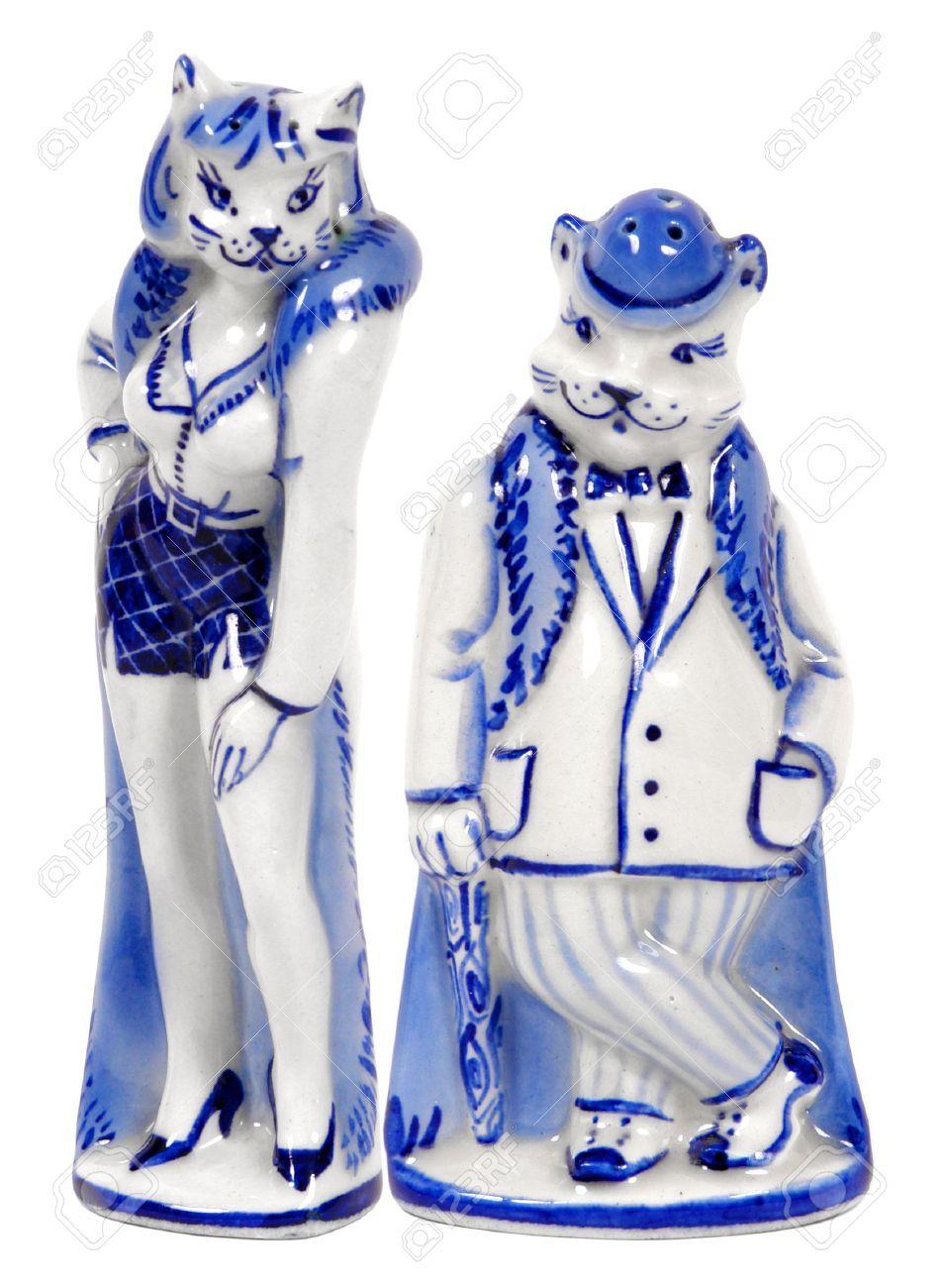 Saltshakers Похожим кошка и человек-кот в бело-голубых ...