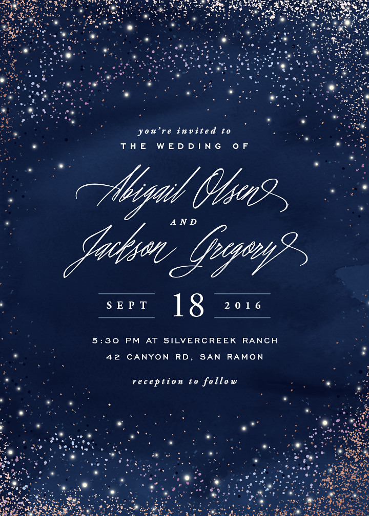 Sparkling Night Sky Wedding Invite Designed By Hooray Creative For Minted Com Affi Night Sky Wedding Starry Night Wedding Foil Pressed Wedding Invitations