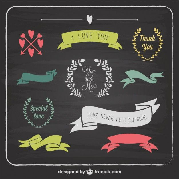 Love Graphic Elements Blackboard Template Free Vector Free - love templates free