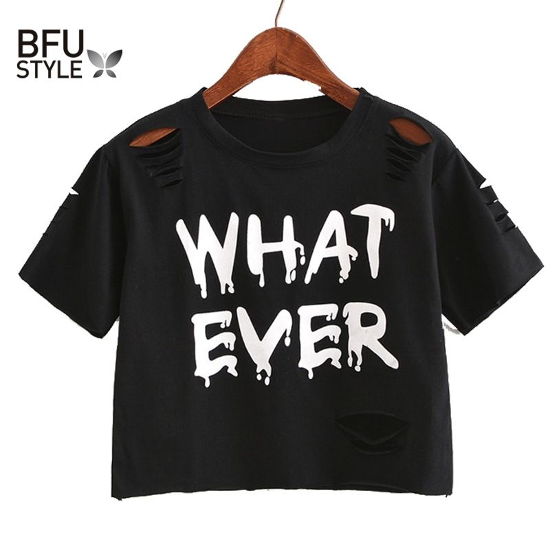 21fb15d4329e6 Aliexpress.com  Comprar Mujeres Dulce Camisa corta Agujeros T Shirt Hip Hop  Letra de