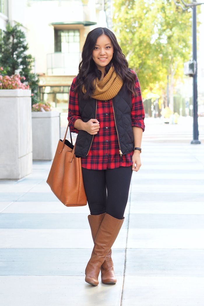 Putting Me Together. Red and black plaid shirt+black leggins+brown knee-high boots+black quilted vest+camel tote bag+mustard scarf. Fall Casual Outfit 2016