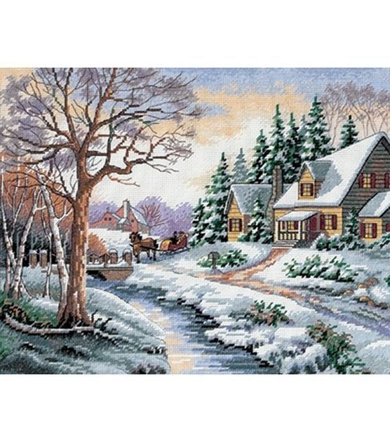 Dimensions Winter Outing Cntd X-Stitch Kit