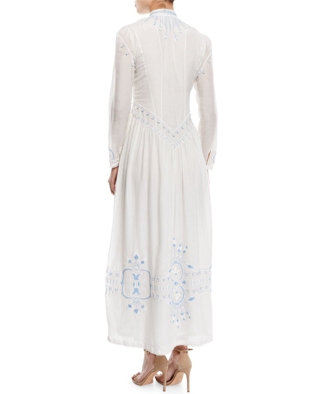 66f67d7c8d7 Talitha Collection Button-Front Embroidered Summer Robe Long Cotton Dress