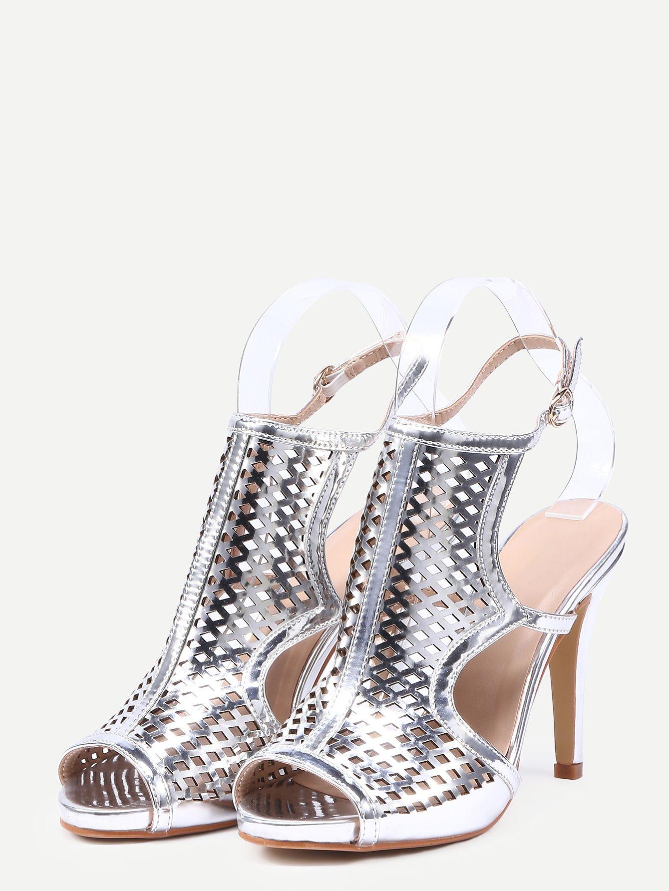 Silver Laser-Cut High Vamp Heeled Sandals -SheIn(Sheinside)
