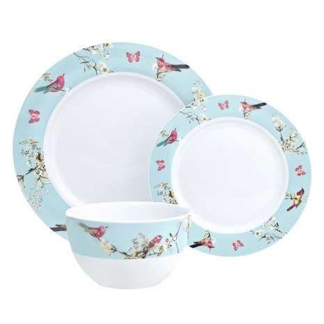 Beautiful Birds 12 Piece Dinner Set  sc 1 st  Pinterest & Dunelm Tableware Beautiful Floral Duck Egg Blue Porcelain 12 Piece ...