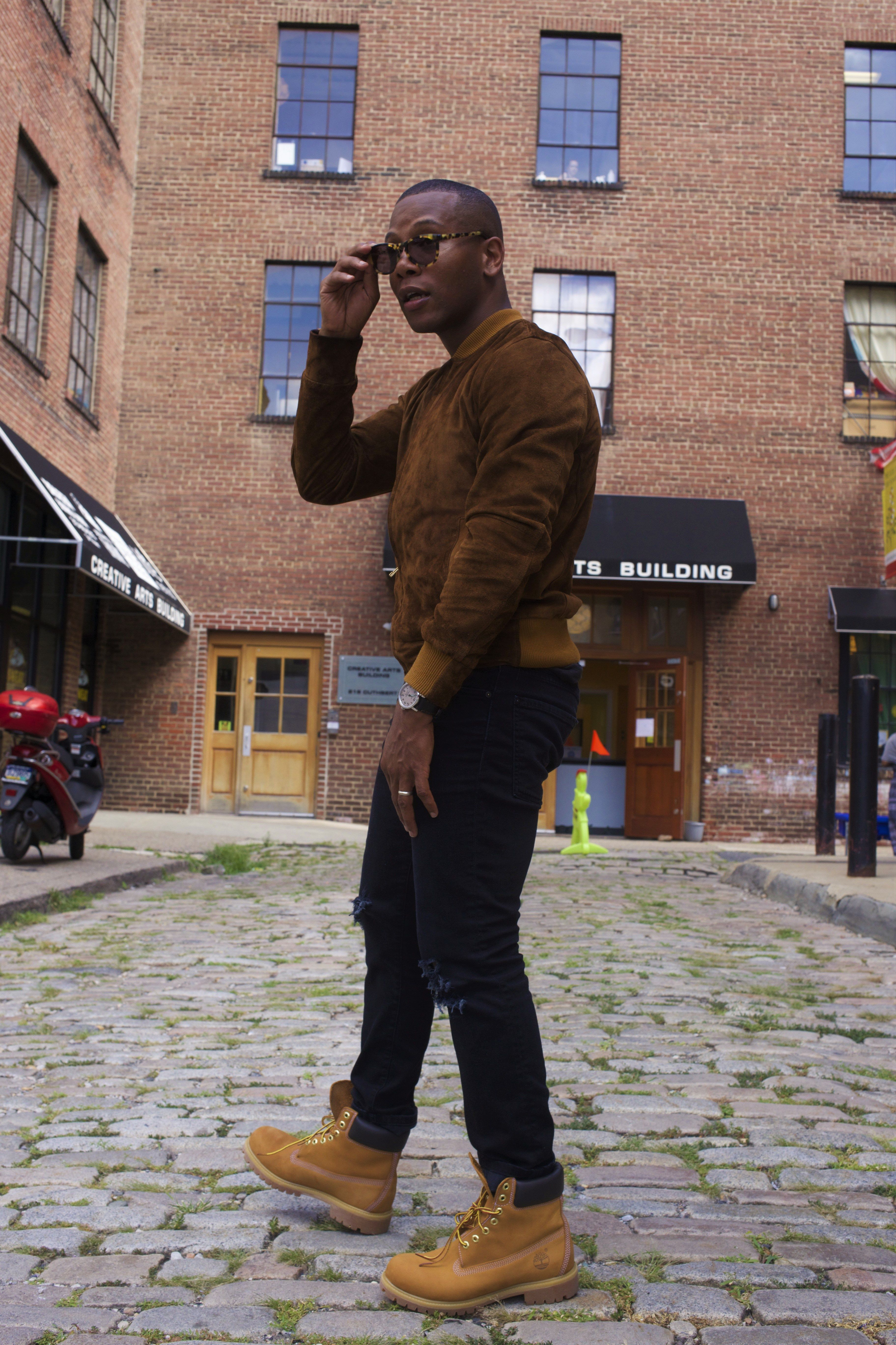 complete range of articles official shop purchase newest Suede jacket + black jeans + tan boots in 2019 | Timberland ...