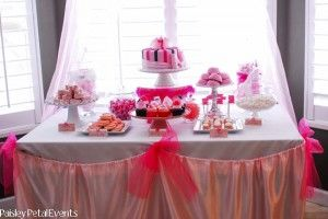Pink Princess Party dessert table and decor 2