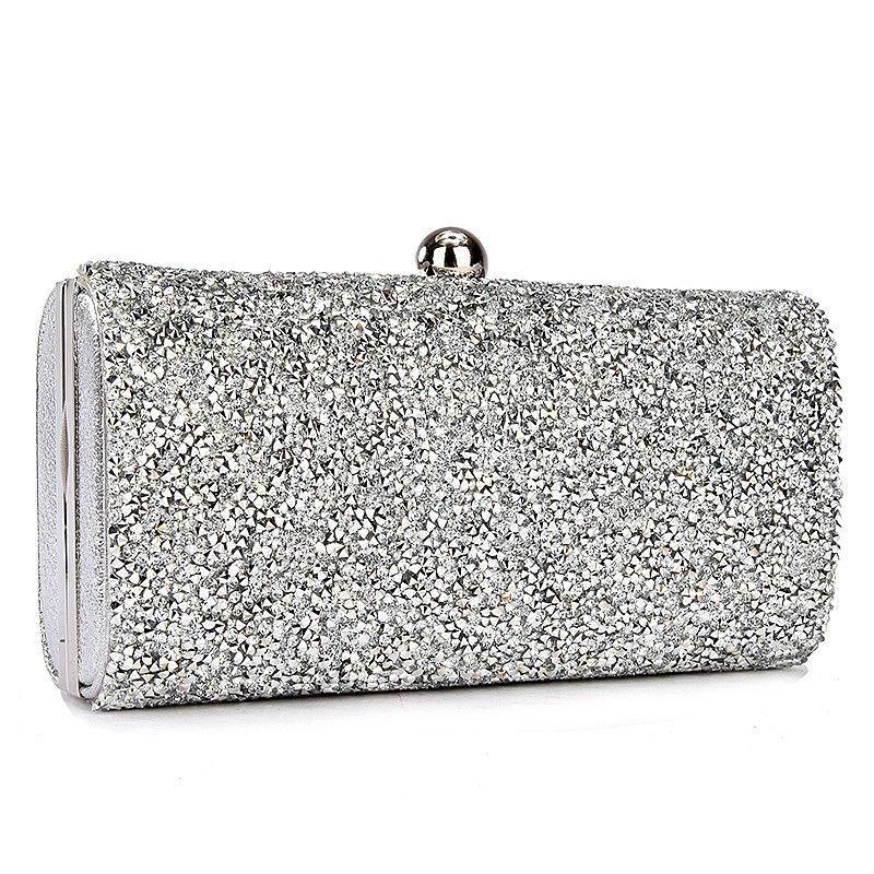 3f2b74c4f7 Luxury Diamante Evening Bag Rhinestone Clutch Purse Prom Party Wedding  Bridal Banquet Shimmering Handbag Chain Silver Gold Black