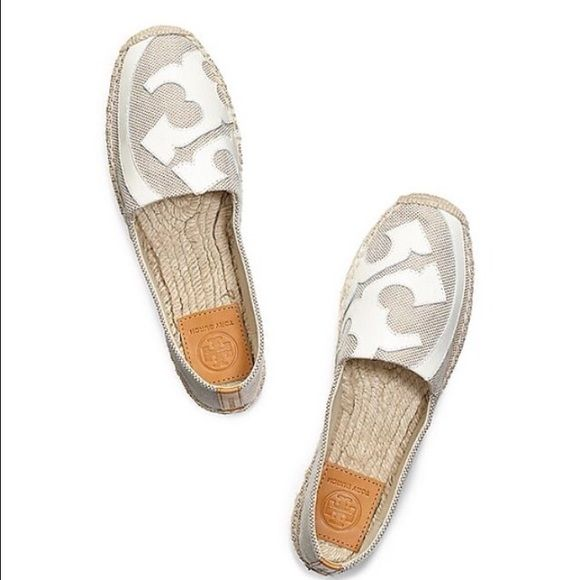 Tory Burch Lonie espadrilles This espadrilles comes in a very hard to find and rare color cream and white. They are so comfy. Cheaper on merc Tory Burch Shoes Espadrilles