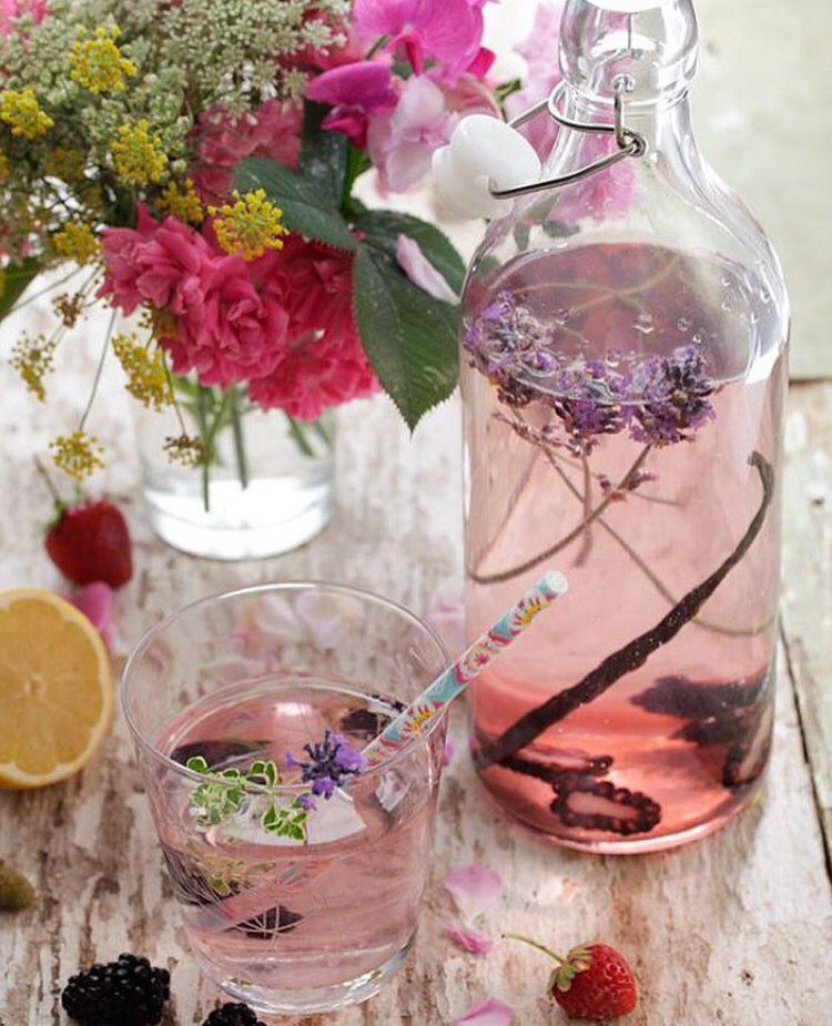 Berries and floral water.