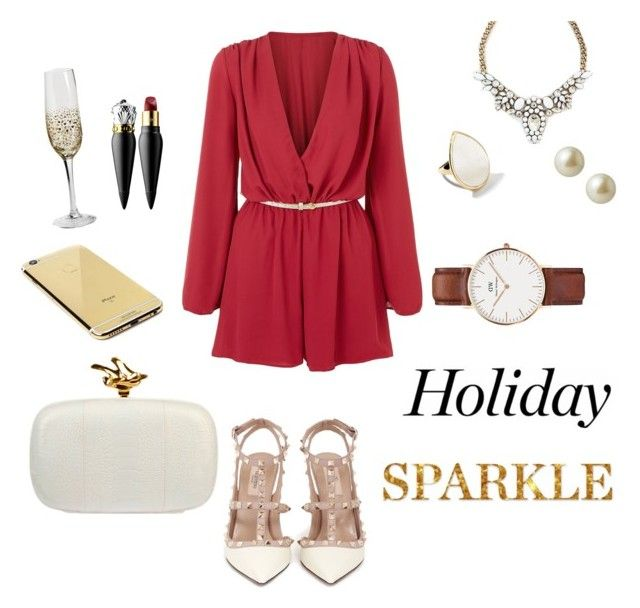 """""""Holiday Party """" by ashleeyneeo on Polyvore featuring John Zack, Valentino, Ippolita, Carolee, Christian Louboutin, Givenchy, Daniel Wellington and Goldgenie"""
