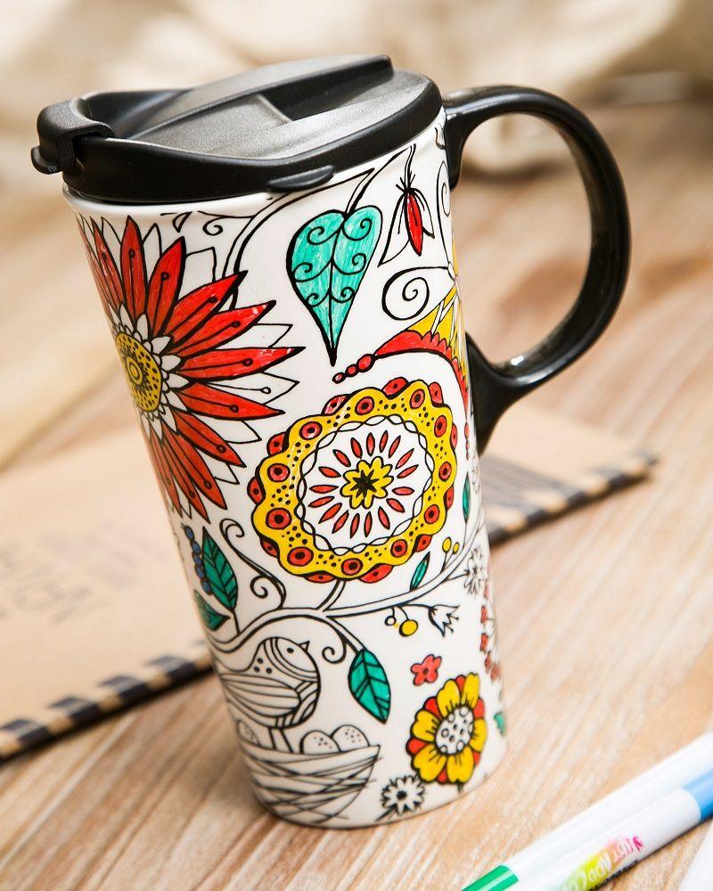 CYPRESS HOME Just Add Color DIY Mug 17 oz Sealed Lid