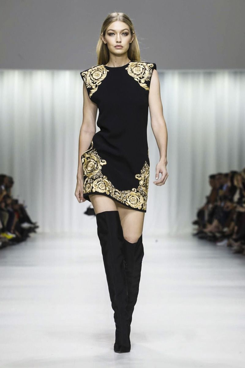 5b46329fa875 Gigi Hadid walking the runway at the Versace fashion show