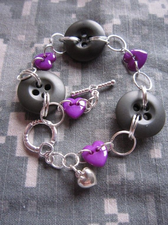 Purple heart button bracelet