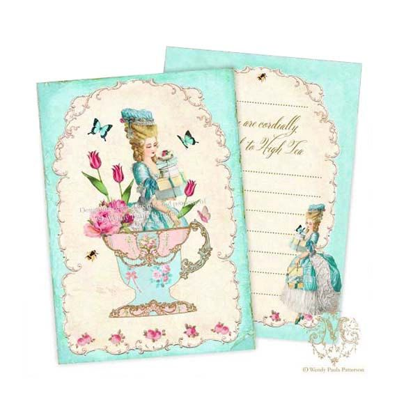 Marie Antoinette, Invitations, Shower Tea, Party Invitation, High Tea, Birthday, Vintage Roses Wallpaper, Teacup, Pink Roses on Etsy, $15.95