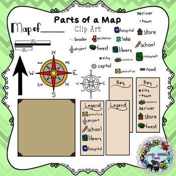 Parts of a Map Clip Art Educational Clip Art Pinterest Clip