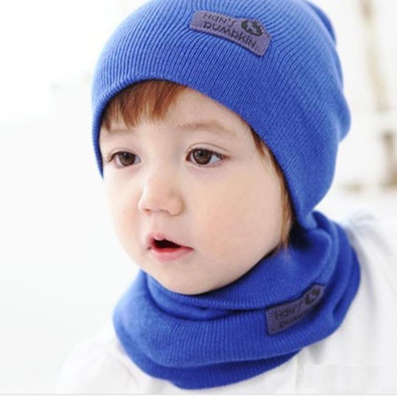 c764273c02f DreamShining Baby Hat Scarf Newborn Toddler Knitted Cap Crochet Children  Winter Warm Hats Unisex Solid Wool