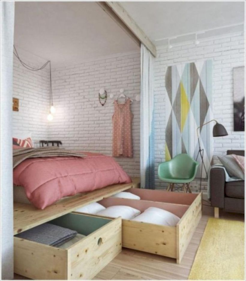 47 Cute Diy Bedroom Storage Design Ideas For Small Spaces images