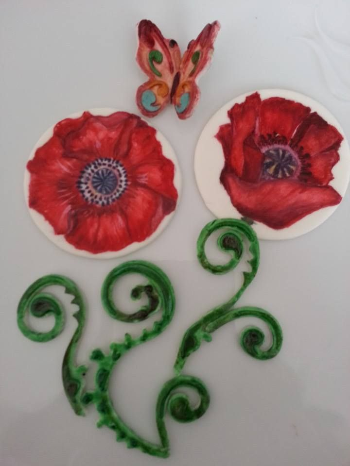 Hand Painted red poppies Fondant cake decor plaques.