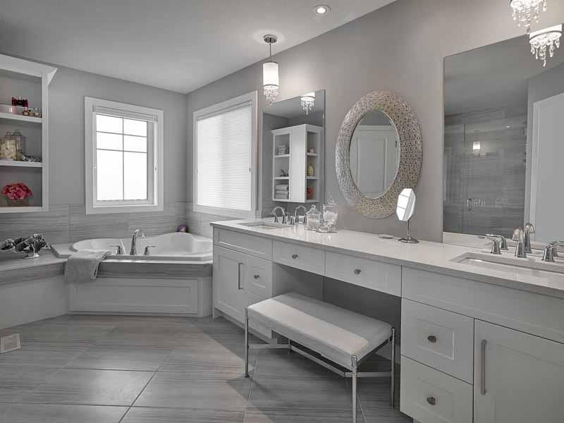 Ensuite Bathroom Edmonton spa ensuite with corner tub, quartz counters, custom cabinets and