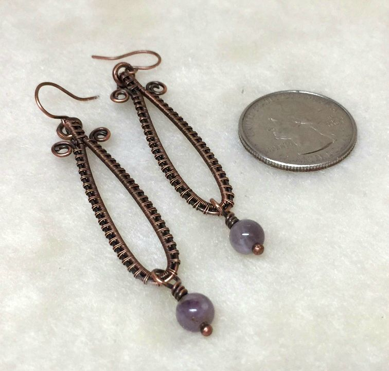 Wire Weave Earrings with Amethyst drops | Arizona Copper Craft ...