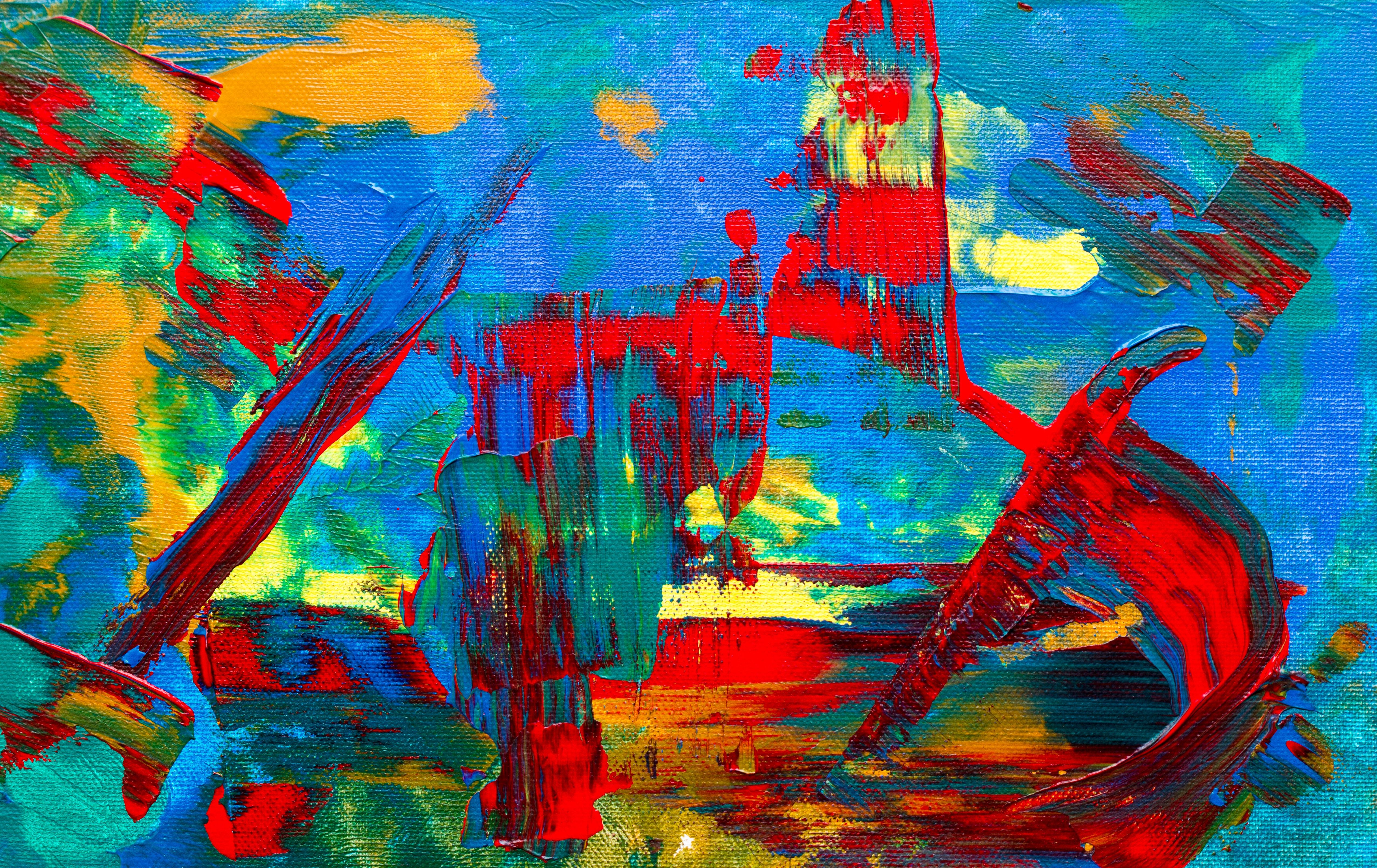 Teal Red And Blue Abstract Painting Blue Abstract Painting