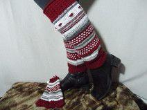 Stulpen, Beinstulpen, rot weiß, 39cm lang