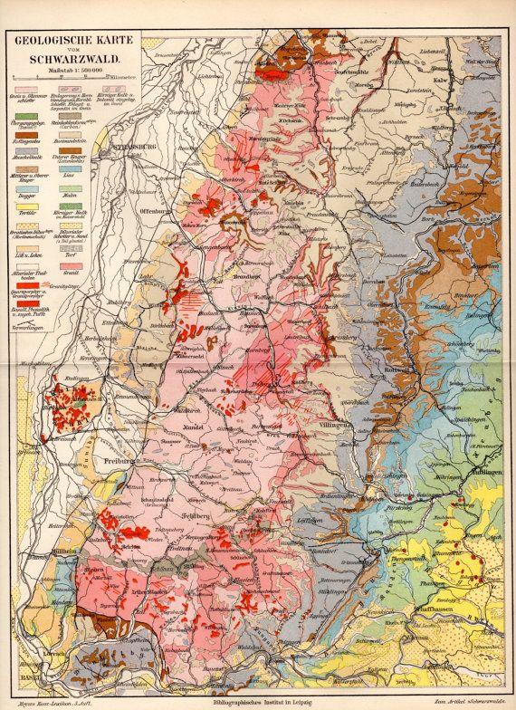 1897 Black Forest Geological Map Germany Schwarzwald Deutschland