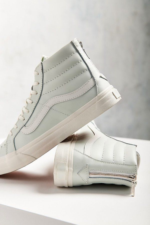 04cb5642dec6f3 Vans Leather Sk8-Hi Slim Zip Sneaker in Mint Green