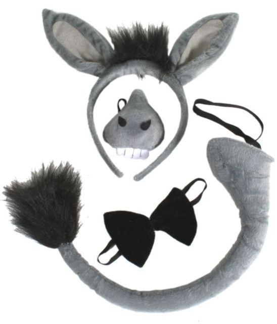 Nativity Play Donkey Ears /& Tail Fancy Dress Costume Outfit Kit Set Kids Childs