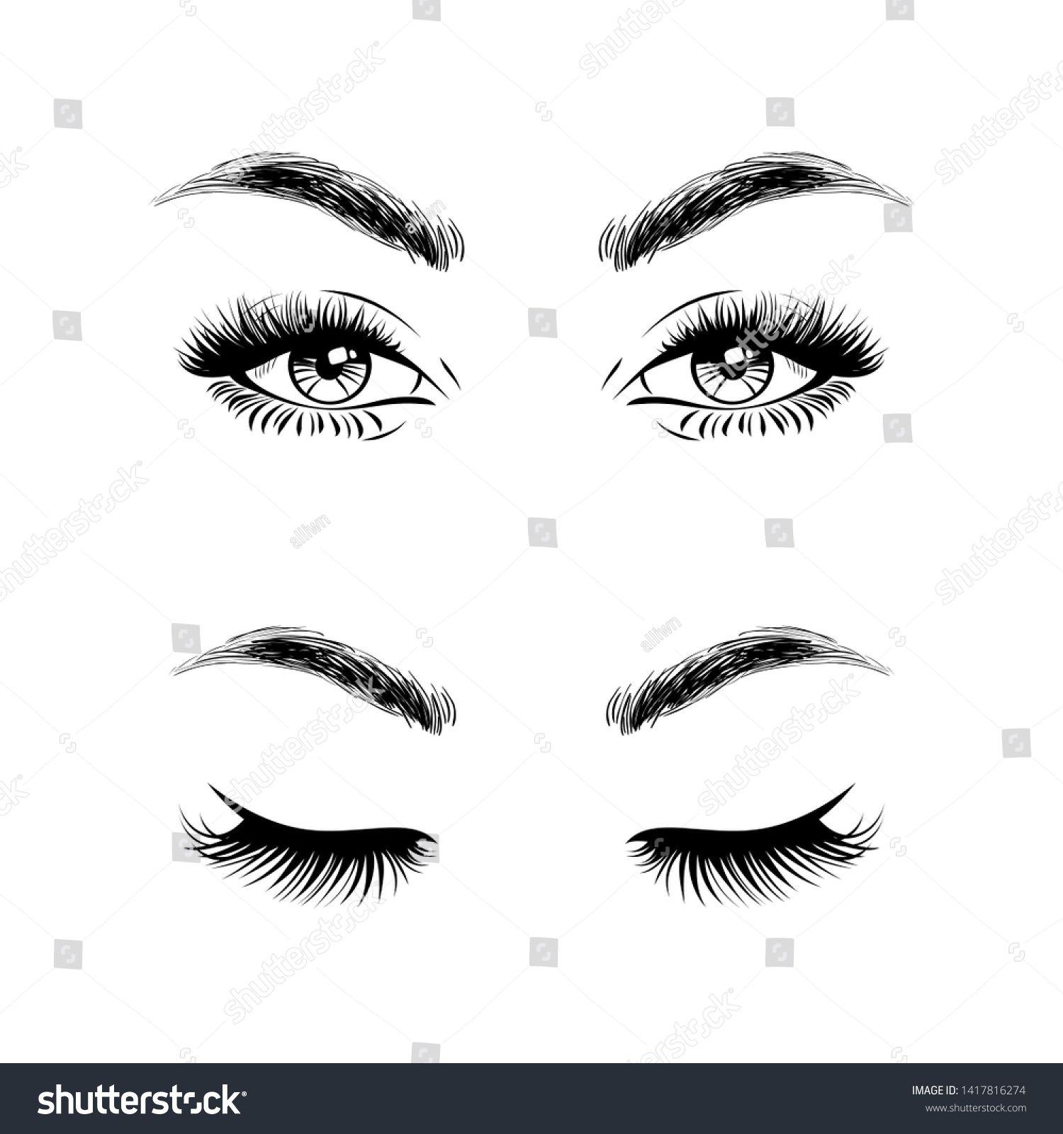 Set Open Eyes And Closed Eyes Beautiful Woman Face Eyebrows And Lush Eyelashes Lashes Extensions Beauty Logo Beautiful Women Faces Closed Eyes Woman Face