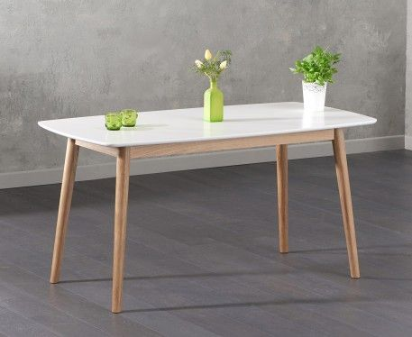 Nordic 150cm Oak And White Dining Table Dining Table Oak Dining