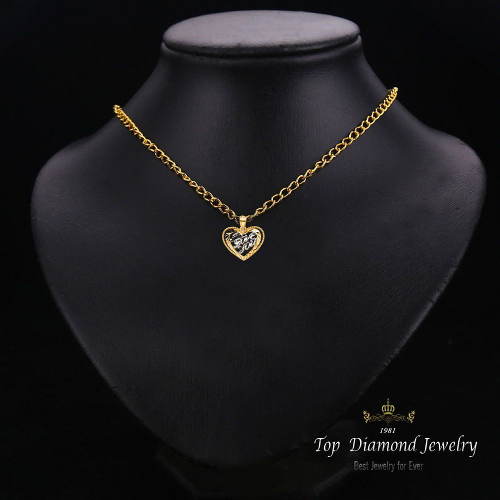 K solid gold two tone love heart charm pendant g heart charm