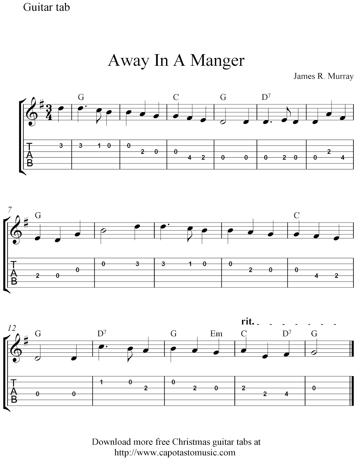 Free Sheet Music Scores Free easy Christmas guitar