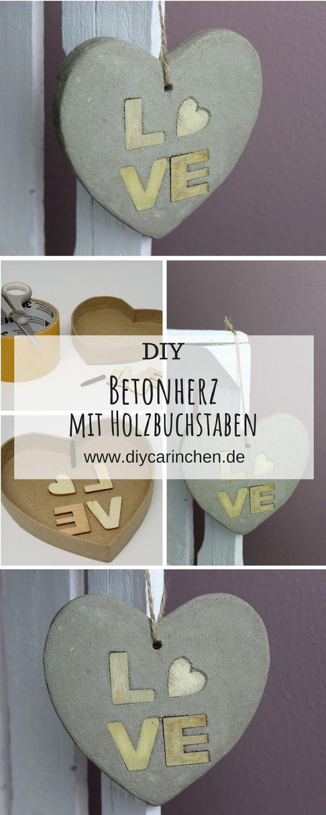 DIY Betonherz mit Holzbuchstaben LOVE selber machen – schöne Deko