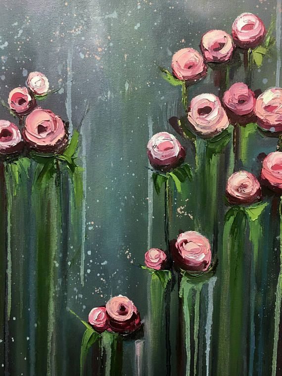 Original Large Oil Painting, Big Flowers Art Work, Handmade Painting, Canvas Art, Original, Hand Paint, Gift , Wall Art, Oil Painting #makeflowers