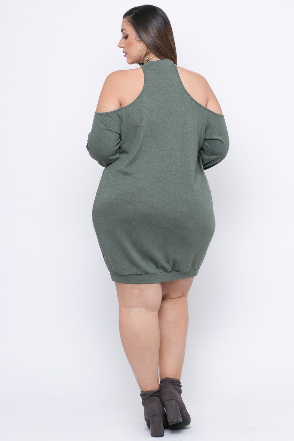 Plus Size Distressed Sweater Dress Olive Erica Lauren Mcneill